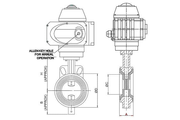 electrical motorized operated butterfly valve